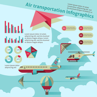 Air transport flat infographic set with airplane helicopter hot air balloon vector illustration 60016001764  写真素材・ストックフォト・画像・イラスト素材 アマナイメージズ