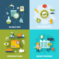 Quality control flat icons set with best quality water natural organic certified construction isolated vector illustration 60016001783  写真素材・ストックフォト・画像・イラスト素材 アマナイメージズ