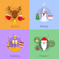 Christmas icons flat set with holiday sound winter present isolated vector illustration 60016001805  写真素材・ストックフォト・画像・イラスト素材 アマナイメージズ