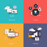 SEO marketing flat icons set with social media business analytics isolated vector illustration 60016001815  写真素材・ストックフォト・画像・イラスト素材 アマナイメージズ
