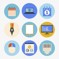 Office and Business Icons Set in Flat Design 60016002503  写真素材・ストックフォト・画像・イラスト素材 アマナイメージズ