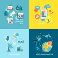 Radio newspaper live tv concept flat business icons set of mass communication social broadcasting for infographics design web el 60016002950  写真素材・ストックフォト・画像・イラスト素材 アマナイメージズ