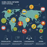 Social network icons flat set with world map and internet elements isolated vector illustration 60016003346  写真素材・ストックフォト・画像・イラスト素材 アマナイメージズ