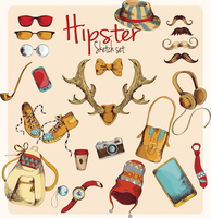 Hipster character pack sketch decorative icons colored set with horns gumshoes cap isolated vector illustration 60016003545  写真素材・ストックフォト・画像・イラスト素材 アマナイメージズ