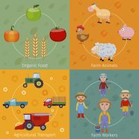 Farm agriculture farmer flat set with organic food animals transport workers isolated vector illustration 60016003576  写真素材・ストックフォト・画像・イラスト素材 アマナイメージズ