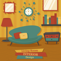 Interior indoor living room design with sofa lamp and bookshelf vector illustration 60016003596| 写真素材・ストックフォト・画像・イラスト素材|アマナイメージズ