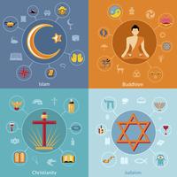 Religions icon flat set of islam buddhism christianity judaism symbols isolated vector illustration 60016003686  写真素材・ストックフォト・画像・イラスト素材 アマナイメージズ