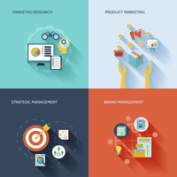 Marketer flat icons set with marketing research product strategic brand management isolated vector illustration 60016003835  写真素材・ストックフォト・画像・イラスト素材 アマナイメージズ