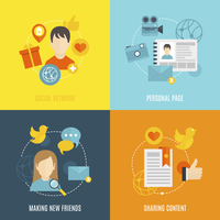 Social flat icons set with network personal page making new friends sharing content isolated vector illustration 60016003906  写真素材・ストックフォト・画像・イラスト素材 アマナイメージズ