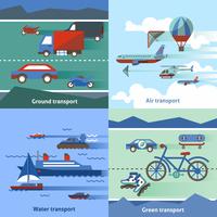 Transportation flat set with ground air water green transport isolated vector illustration 60016003938  写真素材・ストックフォト・画像・イラスト素材 アマナイメージズ