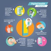 Digital health mobile medicine flat infographics set vector illustration 60016004050  写真素材・ストックフォト・画像・イラスト素材 アマナイメージズ