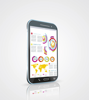 Infographics Desgin template with high tech smartphone 60016004083  写真素材・ストックフォト・画像・イラスト素材 アマナイメージズ
