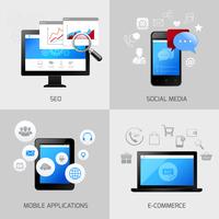 SEO web mobile concepts social media application e-commerce icons set isolated vector illustration 60016004152  写真素材・ストックフォト・画像・イラスト素材 アマナイメージズ
