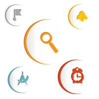 Color elements of infographics with flag symbols, magnifying glass, compass, alarm clock, clock. Vector illustration 60016013537  写真素材・ストックフォト・画像・イラスト素材 アマナイメージズ