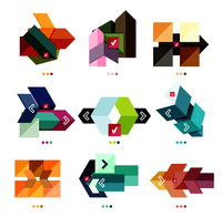 Collection of abstract colorful geometric shapes isolated on white. For business background   numbered banners   business lines  60016014153  写真素材・ストックフォト・画像・イラスト素材 アマナイメージズ