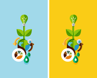 Flat design nature concept: green energy, save the planet, water. Can be used for web banners, printed materials 60016014198  写真素材・ストックフォト・画像・イラスト素材 アマナイメージズ
