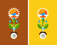 Flat design nature concept - plant growth. Can be used for web banners, printed materials 60016014199  写真素材・ストックフォト・画像・イラスト素材 アマナイメージズ