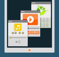 Tablet apps trendy flat design 60016014225  写真素材・ストックフォト・画像・イラスト素材 アマナイメージズ