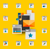 Tablet apps trendy flat design 60016014226  写真素材・ストックフォト・画像・イラスト素材 アマナイメージズ