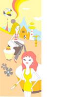 未来都市のイメージと2人の女性 02419000012| 写真素材・ストックフォト・画像・イラスト素材|アマナイメージズ