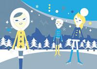 スケート場にいる三人の女性 02419000022| 写真素材・ストックフォト・画像・イラスト素材|アマナイメージズ