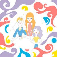 サイケデリックデザインと三人の女性 02419000030| 写真素材・ストックフォト・画像・イラスト素材|アマナイメージズ