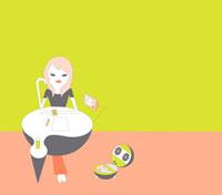 部屋で考え事をする女性 02419000045| 写真素材・ストックフォト・画像・イラスト素材|アマナイメージズ