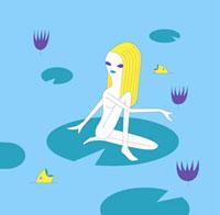 蓮の葉の上に座る少女のイメージ 02419000057| 写真素材・ストックフォト・画像・イラスト素材|アマナイメージズ