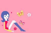 蝶と女性のイメージ 02419000059| 写真素材・ストックフォト・画像・イラスト素材|アマナイメージズ