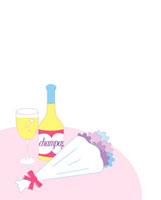 机の上に置かれたシャンパンと花束 02419000064| 写真素材・ストックフォト・画像・イラスト素材|アマナイメージズ