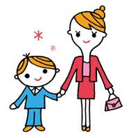 入学式スタイルの母親と子ども 02419000070| 写真素材・ストックフォト・画像・イラスト素材|アマナイメージズ