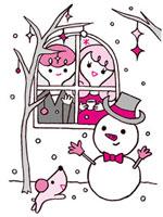 雪だるまとカップル 02419000082| 写真素材・ストックフォト・画像・イラスト素材|アマナイメージズ