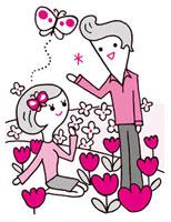 花畑でのカップル 02419000084| 写真素材・ストックフォト・画像・イラスト素材|アマナイメージズ
