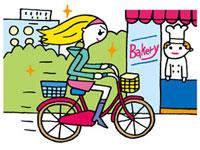 自転車で急ぐ女性 02419000092| 写真素材・ストックフォト・画像・イラスト素材|アマナイメージズ