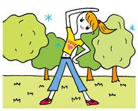 公園で体操をする女性 02419000098| 写真素材・ストックフォト・画像・イラスト素材|アマナイメージズ
