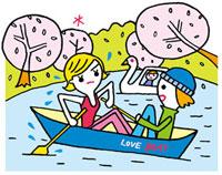 公園でボートを漕ぐカップル 02419000100| 写真素材・ストックフォト・画像・イラスト素材|アマナイメージズ