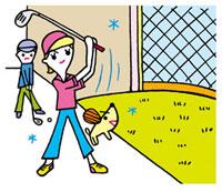 ゴルフの練習をする女性 02419000104| 写真素材・ストックフォト・画像・イラスト素材|アマナイメージズ
