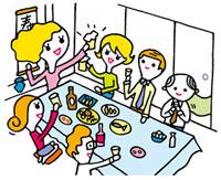 宴会で盛り上がる人々 02419000106| 写真素材・ストックフォト・画像・イラスト素材|アマナイメージズ