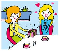 プレゼントをもらって喜ぶ女性 02419000115| 写真素材・ストックフォト・画像・イラスト素材|アマナイメージズ
