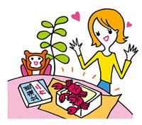 蟹が届いて喜ぶ女性 02419000116| 写真素材・ストックフォト・画像・イラスト素材|アマナイメージズ