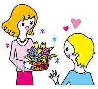 花をもらって喜ぶ女性 02419000117| 写真素材・ストックフォト・画像・イラスト素材|アマナイメージズ