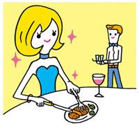 レストランで食事をする女性 02419000122| 写真素材・ストックフォト・画像・イラスト素材|アマナイメージズ