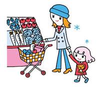 スーパーの食品売り場で買い物する親子 02419000127| 写真素材・ストックフォト・画像・イラスト素材|アマナイメージズ