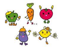 5種類の野菜キャラクター 02419000130| 写真素材・ストックフォト・画像・イラスト素材|アマナイメージズ