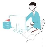 パソコンで仕事をしている男性会社員 02463000757  写真素材・ストックフォト・画像・イラスト素材 アマナイメージズ