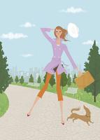 春の公園でミニチュアダックスと散歩をする女性 02674000001| 写真素材・ストックフォト・画像・イラスト素材|アマナイメージズ