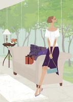 初夏の森の緑をホテルの中で楽しむ女性 02674000009| 写真素材・ストックフォト・画像・イラスト素材|アマナイメージズ