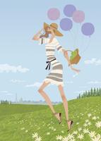 花畑の丘で風船を持ちながら駆ける女性 02674000010| 写真素材・ストックフォト・画像・イラスト素材|アマナイメージズ