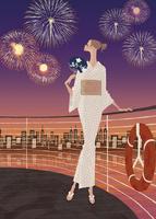 浴衣姿で花火を楽しむ女性 02674000012| 写真素材・ストックフォト・画像・イラスト素材|アマナイメージズ