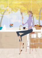 キッチンでコーヒーを飲みながら鏡を見る女性 02674000014| 写真素材・ストックフォト・画像・イラスト素材|アマナイメージズ